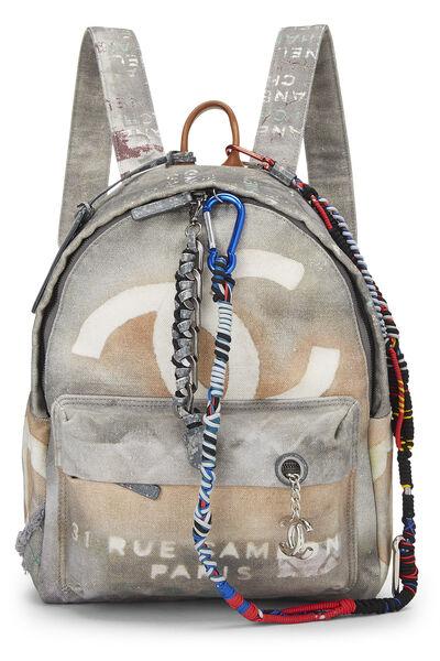 Grey Canvas Graffiti Backpack