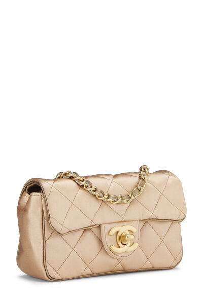 Beige Quilted Satin Half Flap Micro, , large