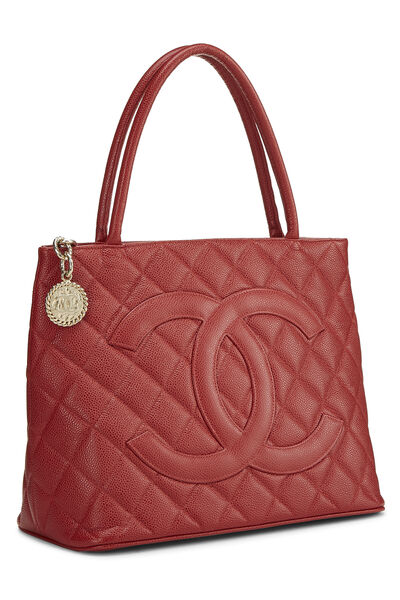 Burgundy Quilted Caviar Medallion Tote, , large