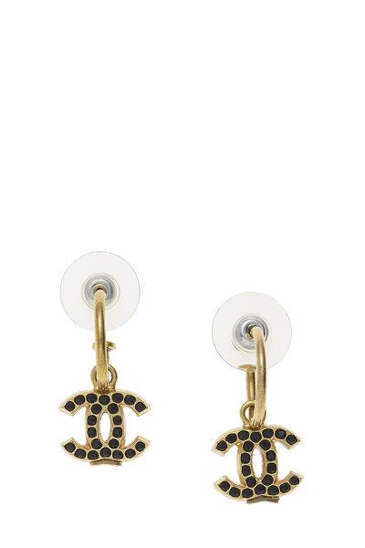 Gold & Black Crystal 'CC' Dangle Earrings
