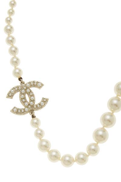 Faux Pearl & Gold 'CC' Choker, , large