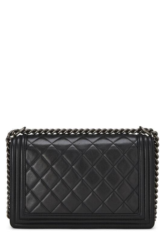 Black Quilted Lambskin Boy Bag Medium, , large image number 4