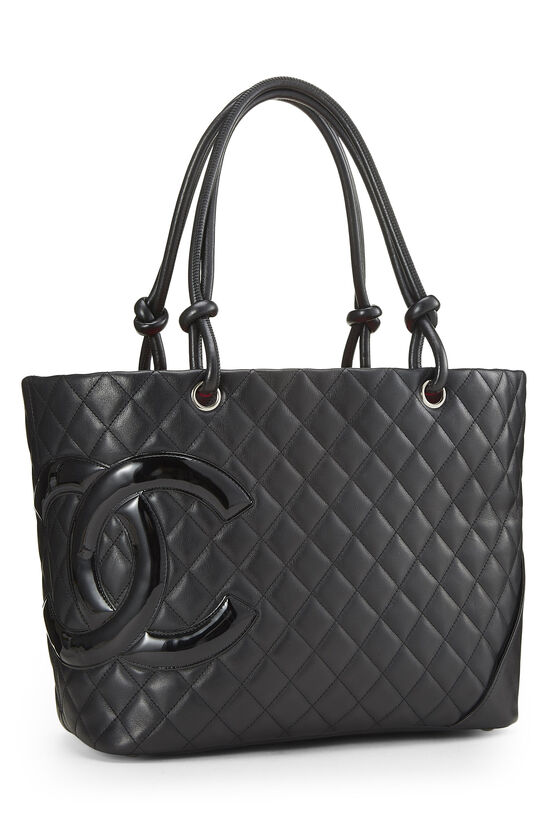 Black Quilted Calfskin Cambon Tote Large, , large image number 1