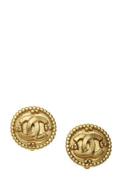 Gold 'CC' Dot Border Earrings
