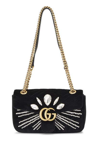Black Velvet GG Marmont Shoulder Bag