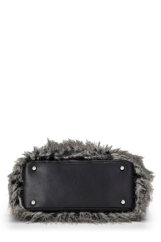 Black Leather & Fantasy Fur Paris Biarritz Tote, , large image number 4