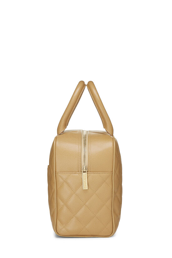 Beige Quilted Caviar Bowler, , large image number 2