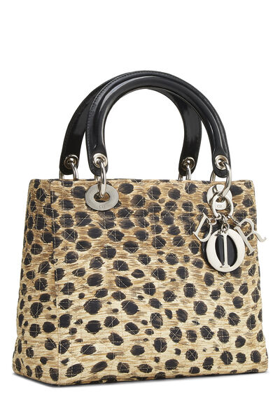 Brown Animal Print Cannage Quilted Nylon Lady Dior Medium, , large