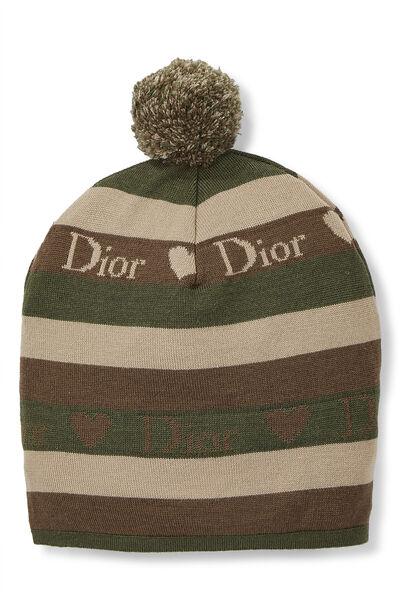 Green Striped Wool Logo Beanie