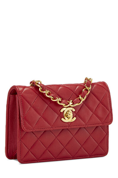 Red Quilted Lambskin Half Flap Micro, , large