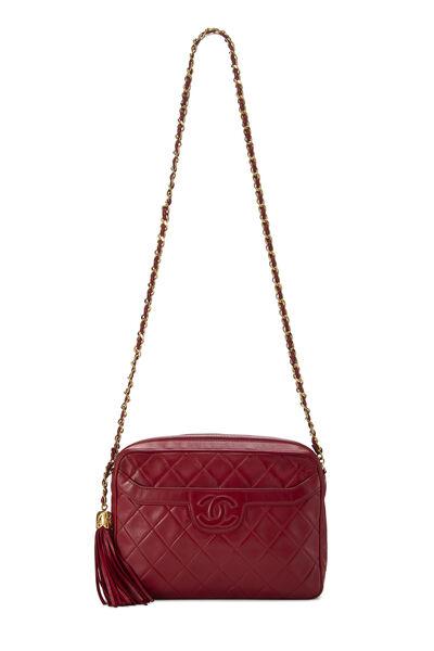 Red Quilted Lambskin Pocket Camera Bag Medium, , large