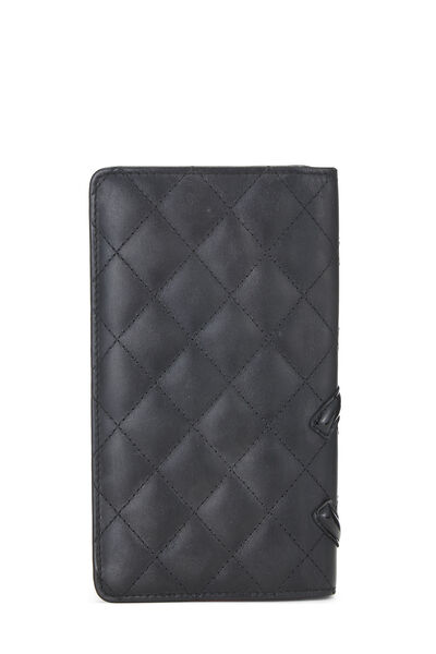 Black Quilted Calfskin Cambon Wallet, , large