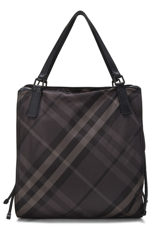 Black Check Nylon Buckleigh Tote, , large image number 3