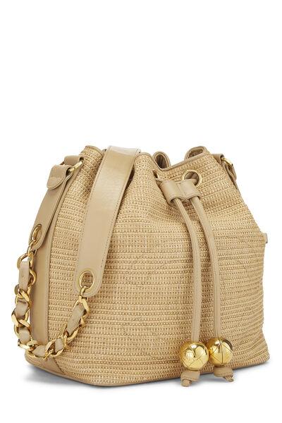 Beige Raffia 'CC' Bucket Bag Small, , large