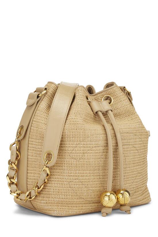 Beige Raffia 'CC' Bucket Bag Small, , large image number 1