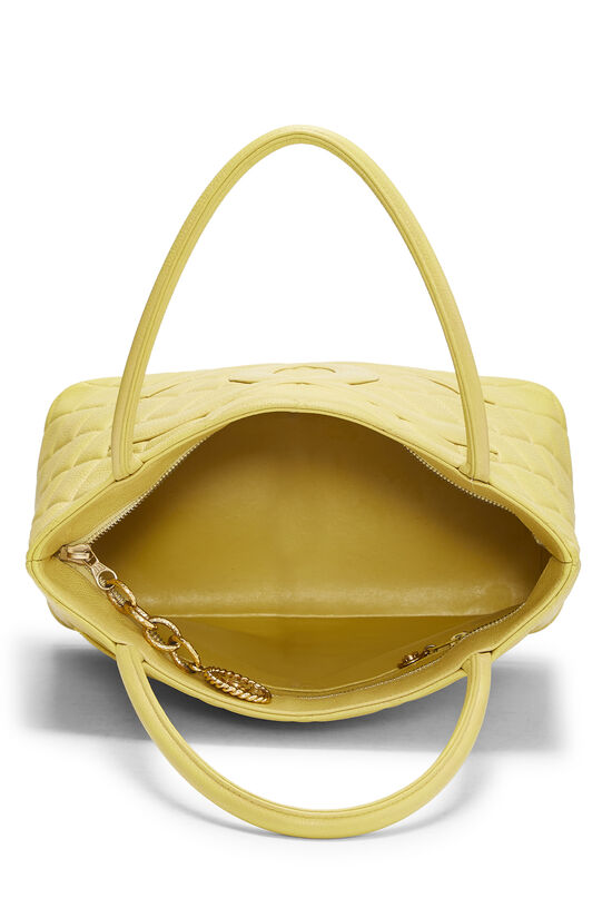 Yellow Quilted Caviar Medallion Tote, , large image number 5
