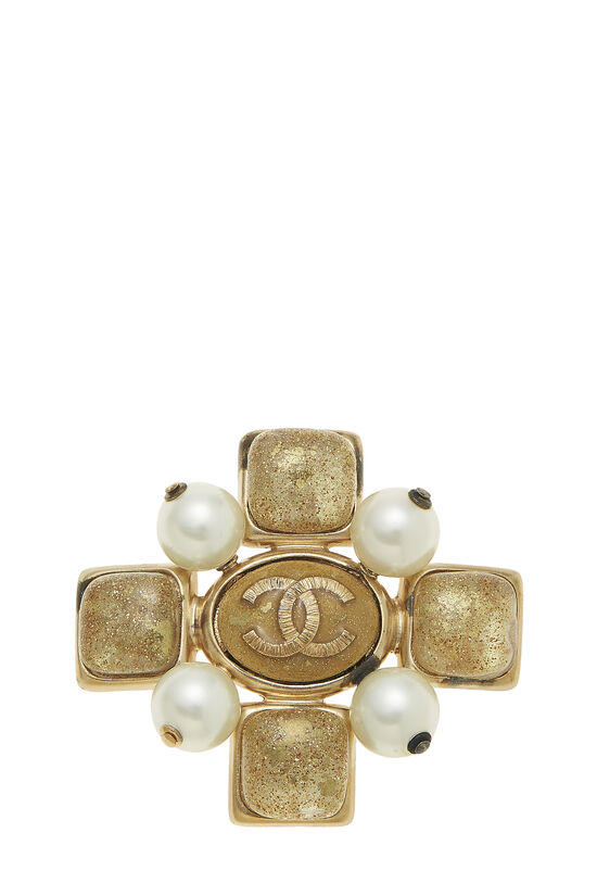 Faux Pearl & Gold Gripoix Cross Pin, , large image number 0