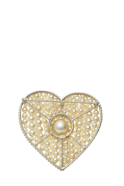 Gold & Faux Pearl Heart Pin, , large