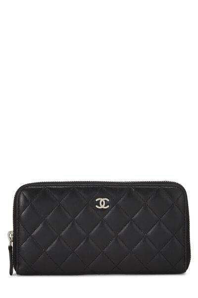 Black Quilted Lambskin Zip Wallet