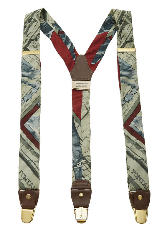 Green & Multicolor Silk Motif Suspenders, , large image number 0