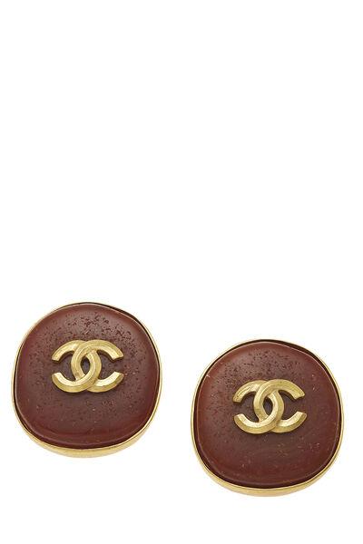 Brown Stone 'CC' Earrings