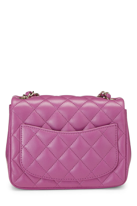 Purple Quilted Lambskin Classic Square Flap Mini, , large image number 3