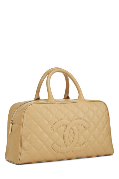 Beige Quilted Caviar Bowler, , large