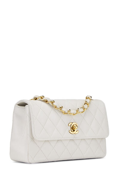 White Quilted Lambskin Half Flap Small, , large