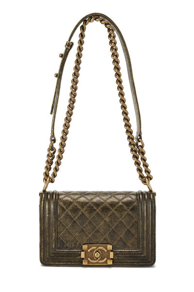 Metallic Brown Quilted Calfskin Boy Bag Small, , large