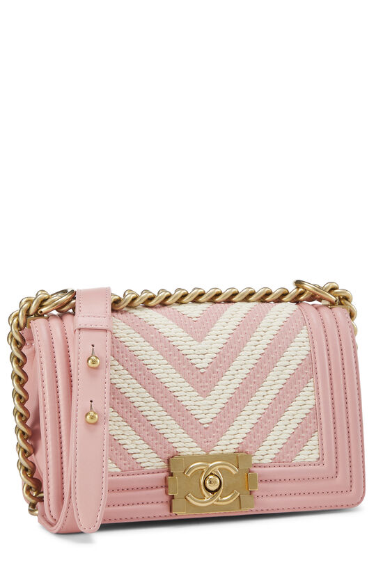 Pink Chevron Lambskin Boy Bag Small, , large image number 2