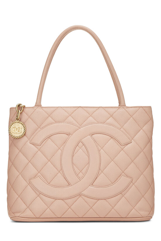 Pink Quilted Caviar Medallion Tote, , large image number 0
