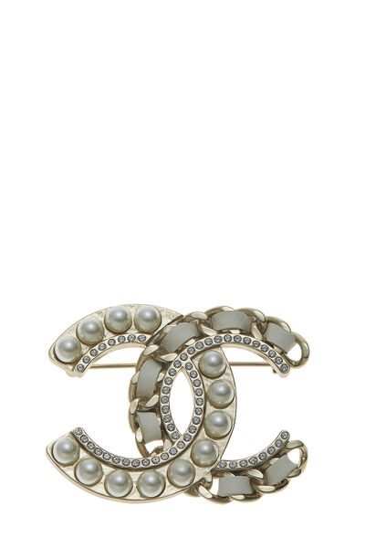 Gold & Faux Pearl 'CC' Pin Large