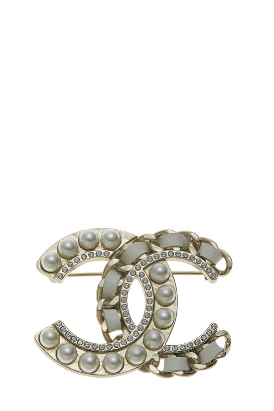 Gold & Faux Pearl 'CC' Pin Large, , large image number 0