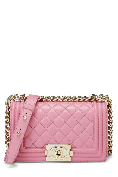 Pink Quilted Lambskin Boy Bag Small