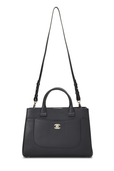 Black Leather Neo Executive Shopping Tote, , large