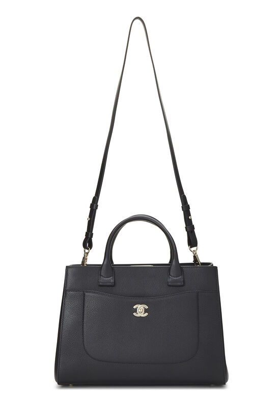 Black Leather Neo Executive Shopping Tote, , large image number 1