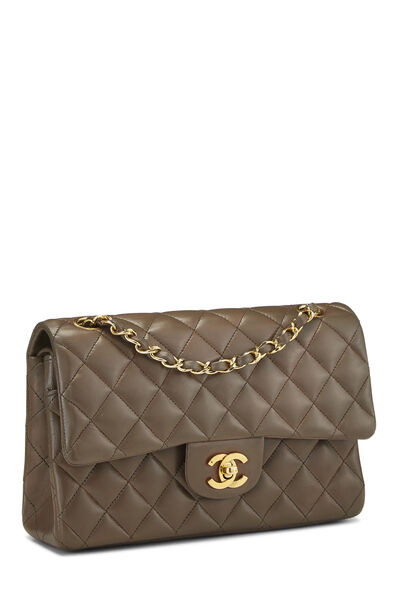 Brown Quilted Lambskin Classic Double Flap Medium, , large