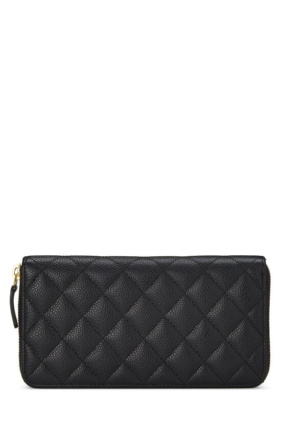 Black Quilted Caviar Zip Wallet, , large image number 2