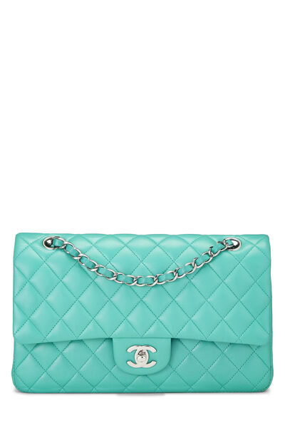 Green Quilted Lambskin Classic Double Flap Medium