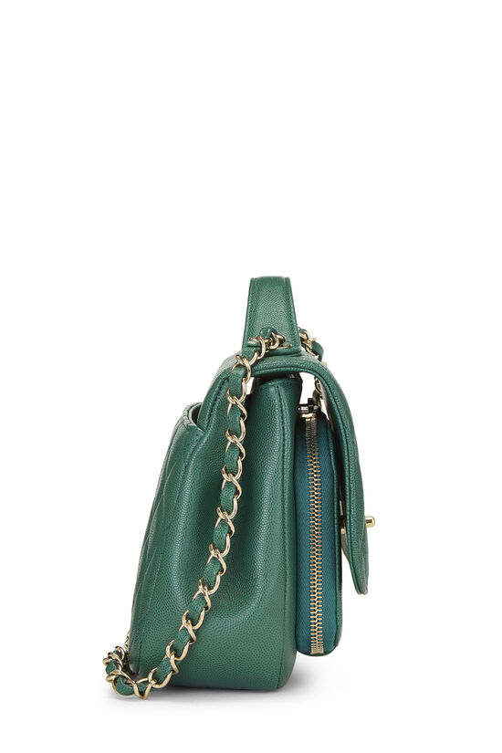 Green Quilted Caviar Business Affinity Bag Medium, , large image number 3