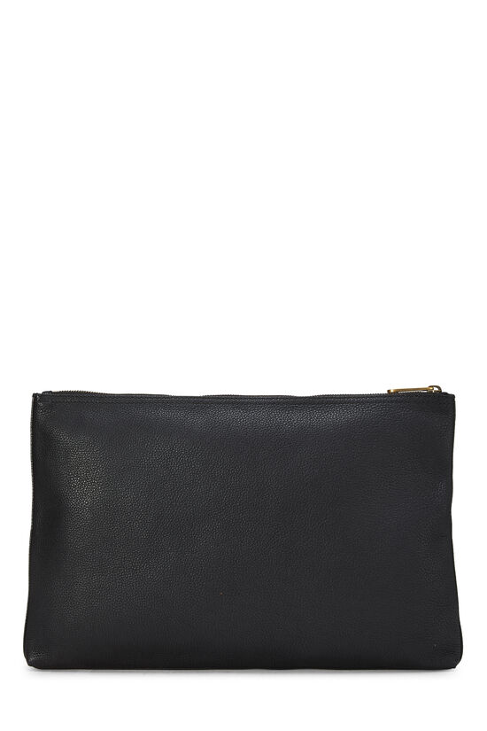 Black Leather Logo Pouch, , large image number 2