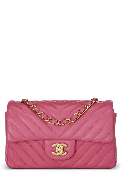 Pink Chevron Lambskin Classic Flap Mini