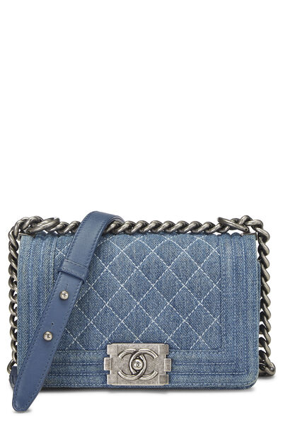 Blue Quilted Denim Boy Bag Small