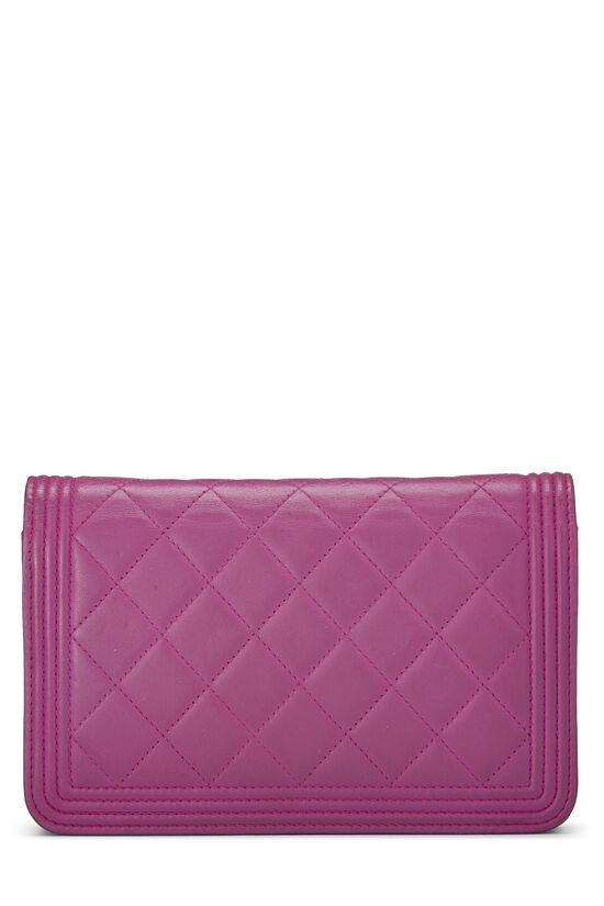 Purple Quilted Lambskin Boy Wallet on Chain (WOC), , large image number 3