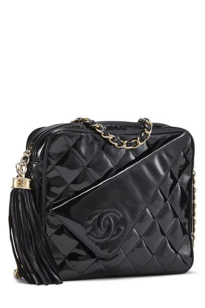 Black Patent Leather Diagonal Camera Bag Small, , large