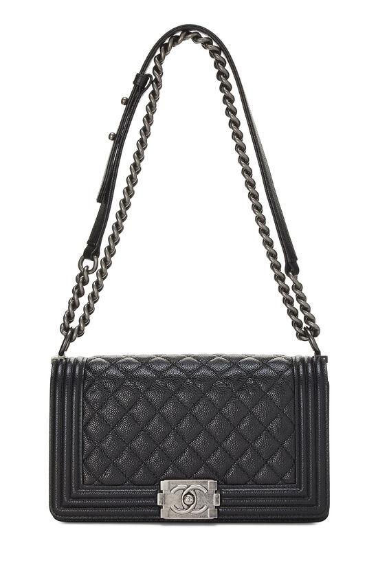 Black Quilted Caviar Boy Bag Medium, , large image number 6
