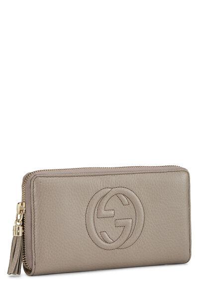 Grey Leather Soho Zip Wallet, , large