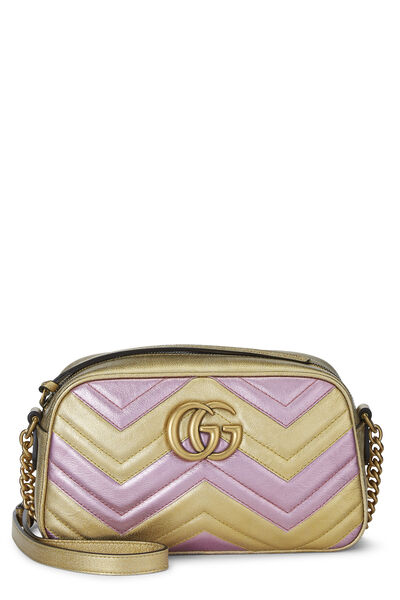 Pink & Gold Leather GG Marmont Crossbody Small