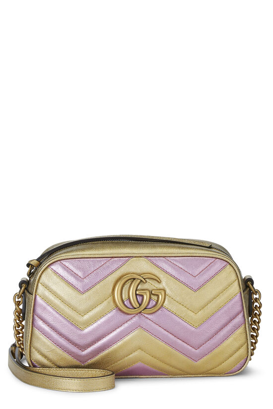 Pink & Gold Leather GG Marmont Crossbody Small, , large image number 0