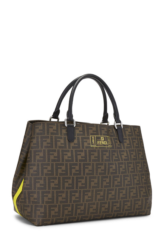 Brown Zucca Coated Canvas Roma Shopping Tote, , large image number 2